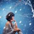 Attractive woman in winter forest - Lizenzfreies Foto