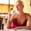 Beautiful woman in a restaurant — Stock Photo #6229500