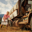 Attractive blond woman near the old car — Stock Photo #6229513