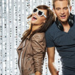 Young stylish couple in the nightclub — Stock Photo