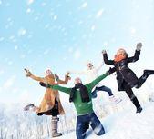 Amis heureux sautant dans la neige — Photo