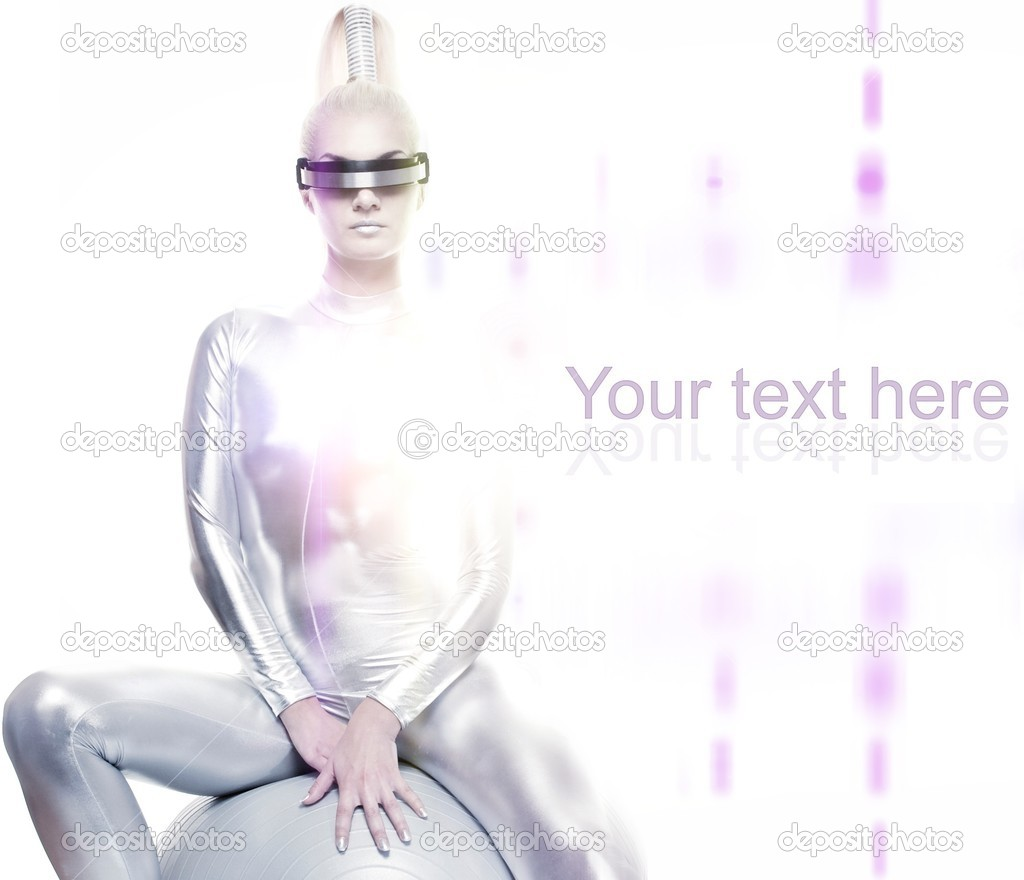 Beautiful cyber woman sitting on a silver ball  Stock Photo #6229184