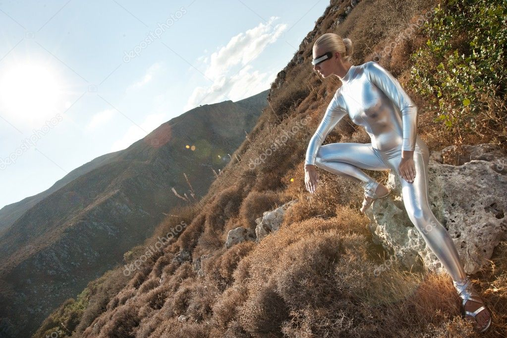 Cyber woman in a mountains.  Stock Photo #6229655