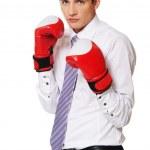 ボクシング グローブ青年実業家 — ストック写真