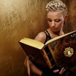 Steam punk girl with a book — Stock Photo