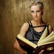 Steam punk girl with a book — Foto de stock #6255023