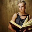 Steam punk girl with a book — Stockfoto #6255023