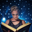 Stock Photo: Steam punk girl with a book