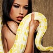 Attractive brunette woman with python — Stock Photo