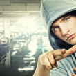 Young handsome man in a hood — Stock Photo #6255349
