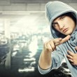 Young handsome man in a hood — Stock Photo #6255352