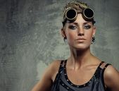 Close-up portrait of a steam punk girl — Stock Photo