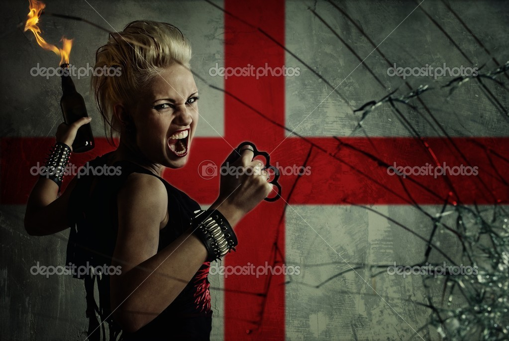 Punk girl with Molotov cockatail against England flag. — Stock Photo #6349374