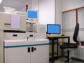 Automatic quality testing station for the silicone wafer — Stock Photo