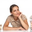 Portrait of pretty girl with books — Stock Photo
