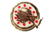 Chocolate pie with a fresh cherry — Stock Photo