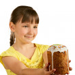 Little girl and Easter pie — Stockfoto