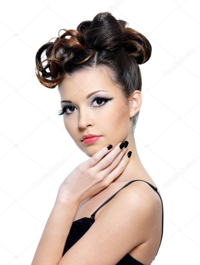 Fashion hairstyle and false eyelashes — Stock Photo ...