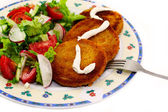 Burger and salad — Stock Photo