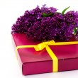 Gift and a sprig of lilac — Stock Photo