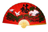 Red fan Asian with characters — Stock Photo