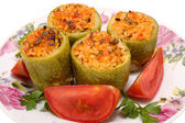 Zucchini stuffed with meat and rice — Stock Photo