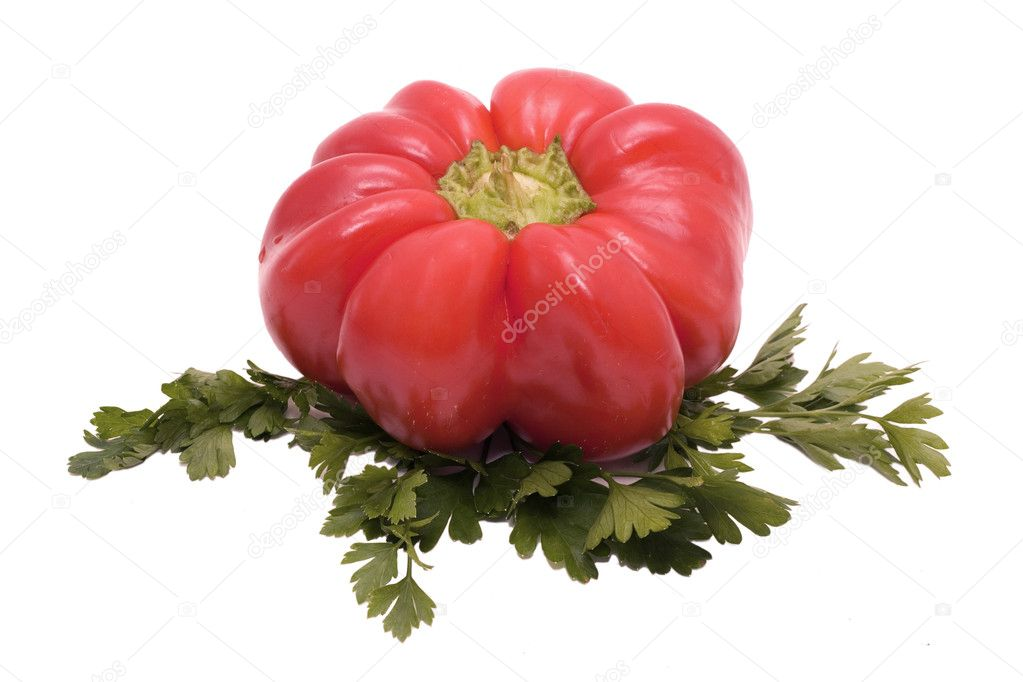 Red pepper and parsley Isolated on white background — Stock Photo #6454987
