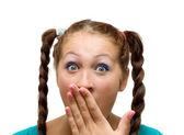 Oops! Surprised young adult woman. — Stock Photo