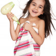 Stock Photo: Little girl with hairdryer