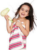 Little girl with hairdryer — Stock Photo