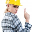 Girl with hard hat — Stock Photo