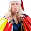 Stock Photo: Christmas womwith shopping bags
