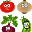 Funny cartoon cute vegetables - tomato, beet, cucumber, onion - Stock Vector