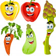Funny cute vegetables - peppers, asparagus, carrots, zucchini - Stok Vektr
