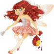 Stock Vector: Pretty red haired tooth fairy in pink