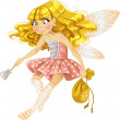 Stock Vector: Pretty tooth fairy in pink