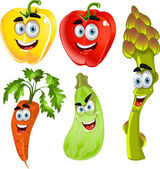 Funny cute vegetables - peppers, asparagus, carrots, zucchini — Stock Vector