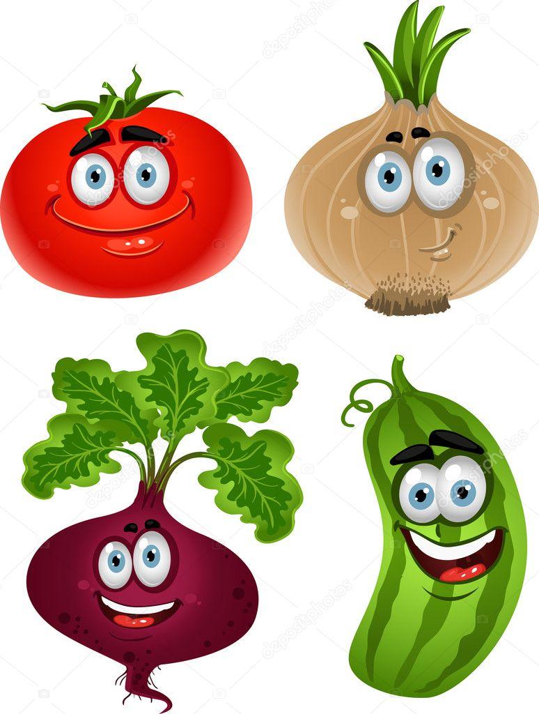 Verdure simpatico cartone animato divertente
