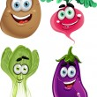 Funny cartoon cute vegetables - lettuce, radishes, eggplant, potatoes - Imagens vectoriais em stock