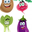 Funny cartoon cute vegetables - lettuce, radishes, eggplant, potatoes - Stockvectorbeeld