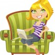 Cute blond girl with a laptop in a chair — Stock Vector