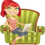 bir sandalyede bir dizüstü bilgisayar ile şirin kız — Stok Vektör