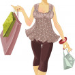 Beautiful girl with shopping bags — Stock Vector