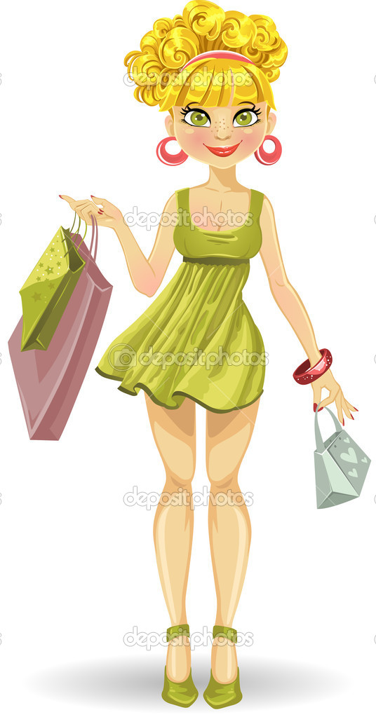 Beautiful blond girl with shopping bags in green dress — Stock Vector #5676247