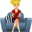 Beautiful blond girl in blue armchair with cup coffee — Stock Vector