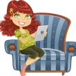 Stock Vector: Pregnant womwith tablet computer in blue armchair