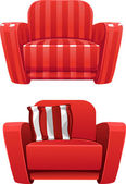 Red soft stripped armchair — Stock Vector