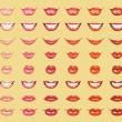 Glamorous glossy shining female lips in light orange colors — Vector de stock