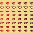 Glamorous glossy shining female lips in red colors — Imagen vectorial
