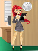 Cute businesswoman workaholic in the morning at the office — Stock Vector